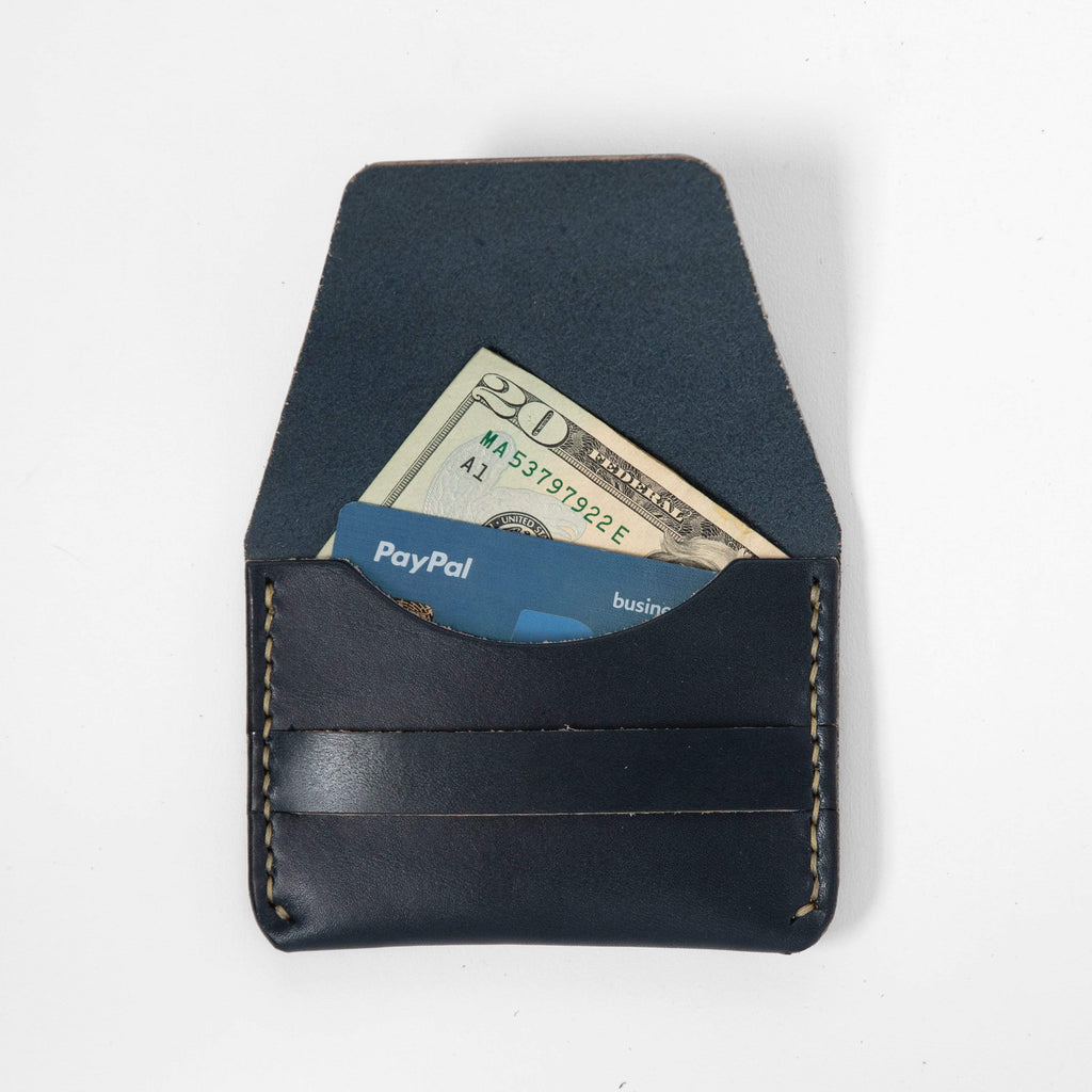 Navy Flap Wallet- mens leather wallet - handmade leather wallets at KMM & Co.