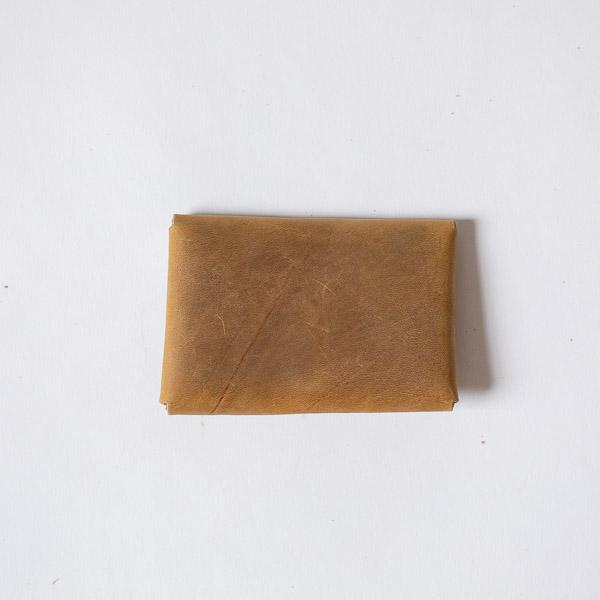 Ochre Card Envelope- card holder wallet - leather wallet made in America at KMM & Co.