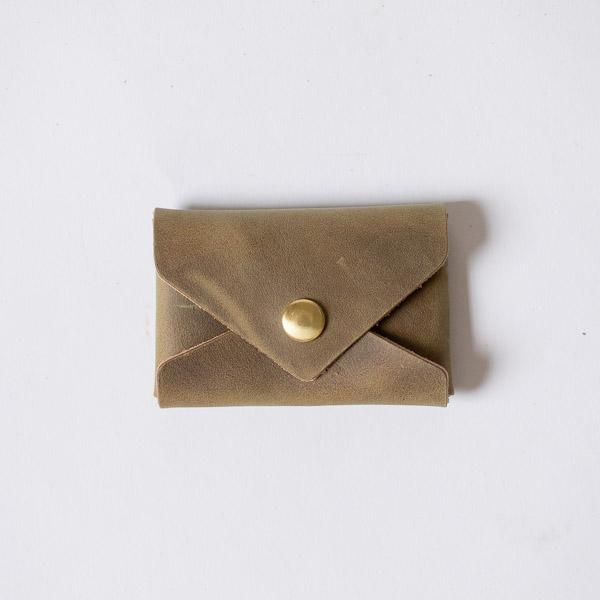 Olive Card Envelope- card holder wallet - leather wallet made in America at KMM & Co.