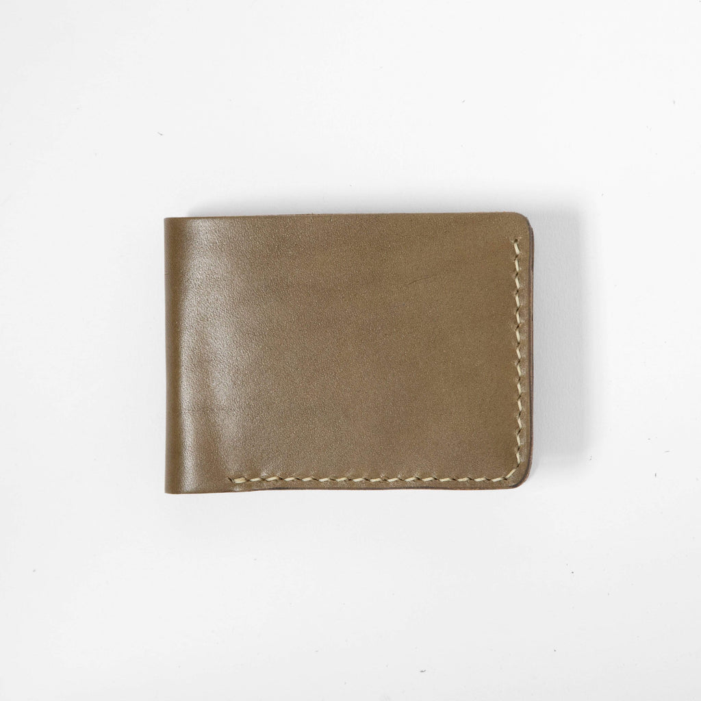 Olive Green Billfold- leather billfold wallet - mens leather bifold wallet - KMM & Co.