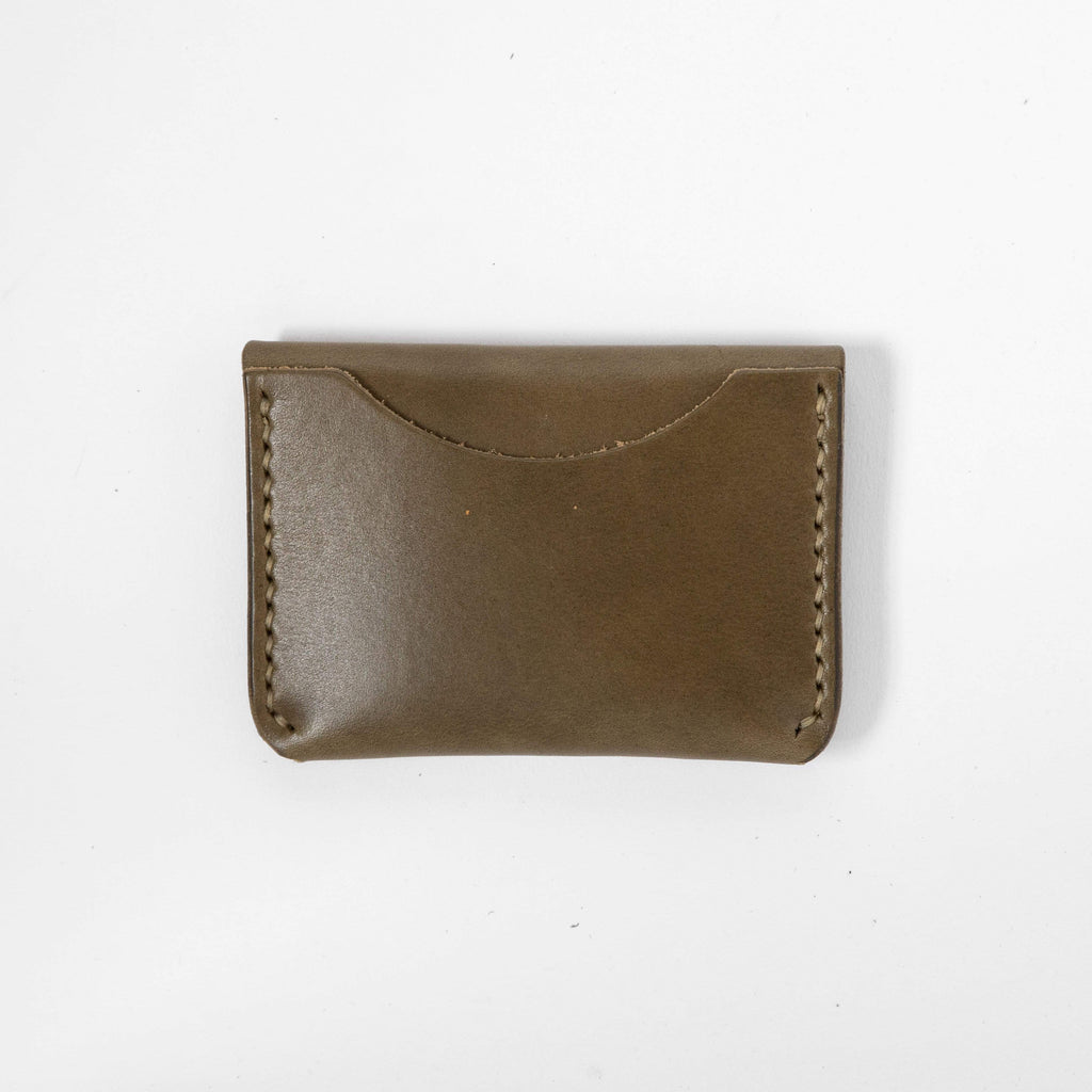 Olive Green Flap Wallet- mens leather wallet - handmade leather wallets at KMM & Co.