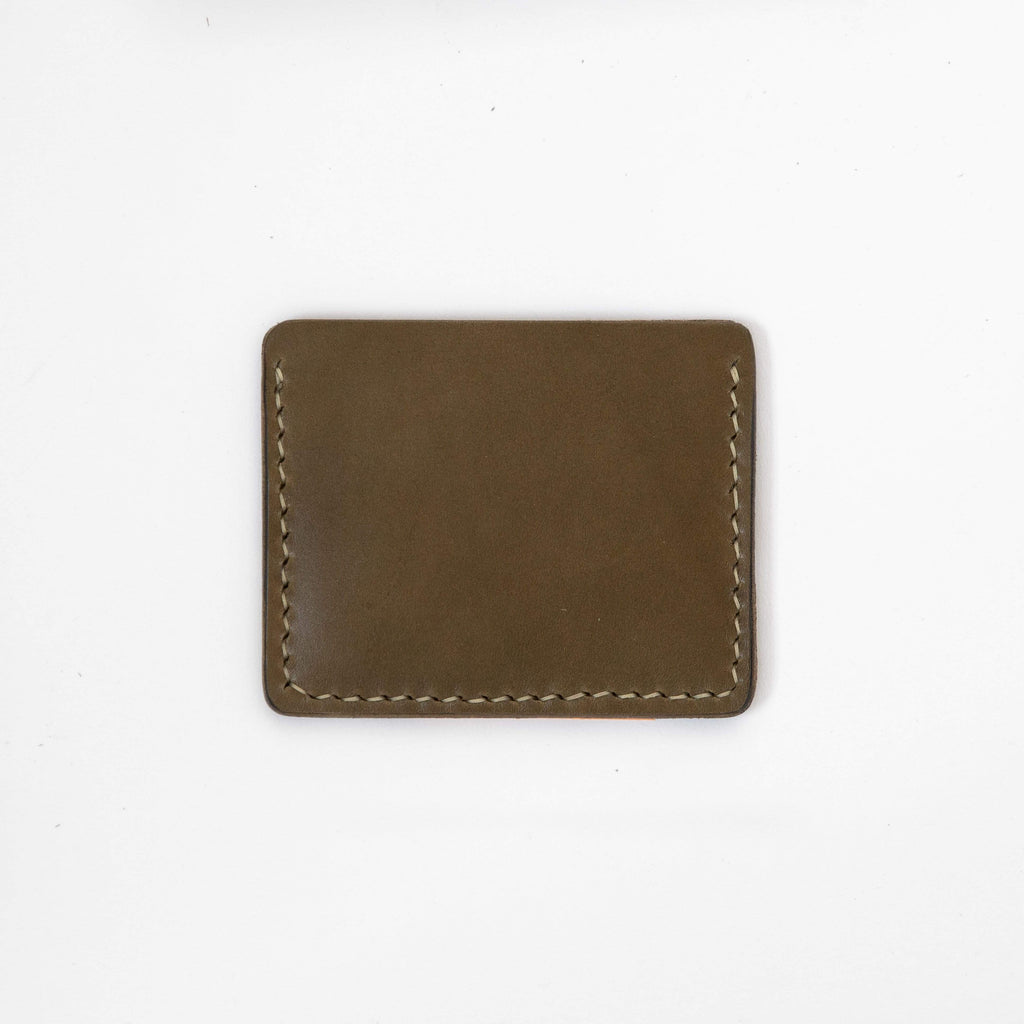 Olive Green Slim Card Wallet- slim wallet - mens leather wallet - KMM & Co.