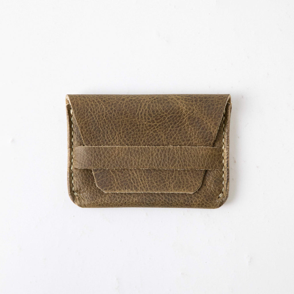Olive Kodiak Flap Wallet- mens leather wallet - handmade leather wallets at KMM & Co.