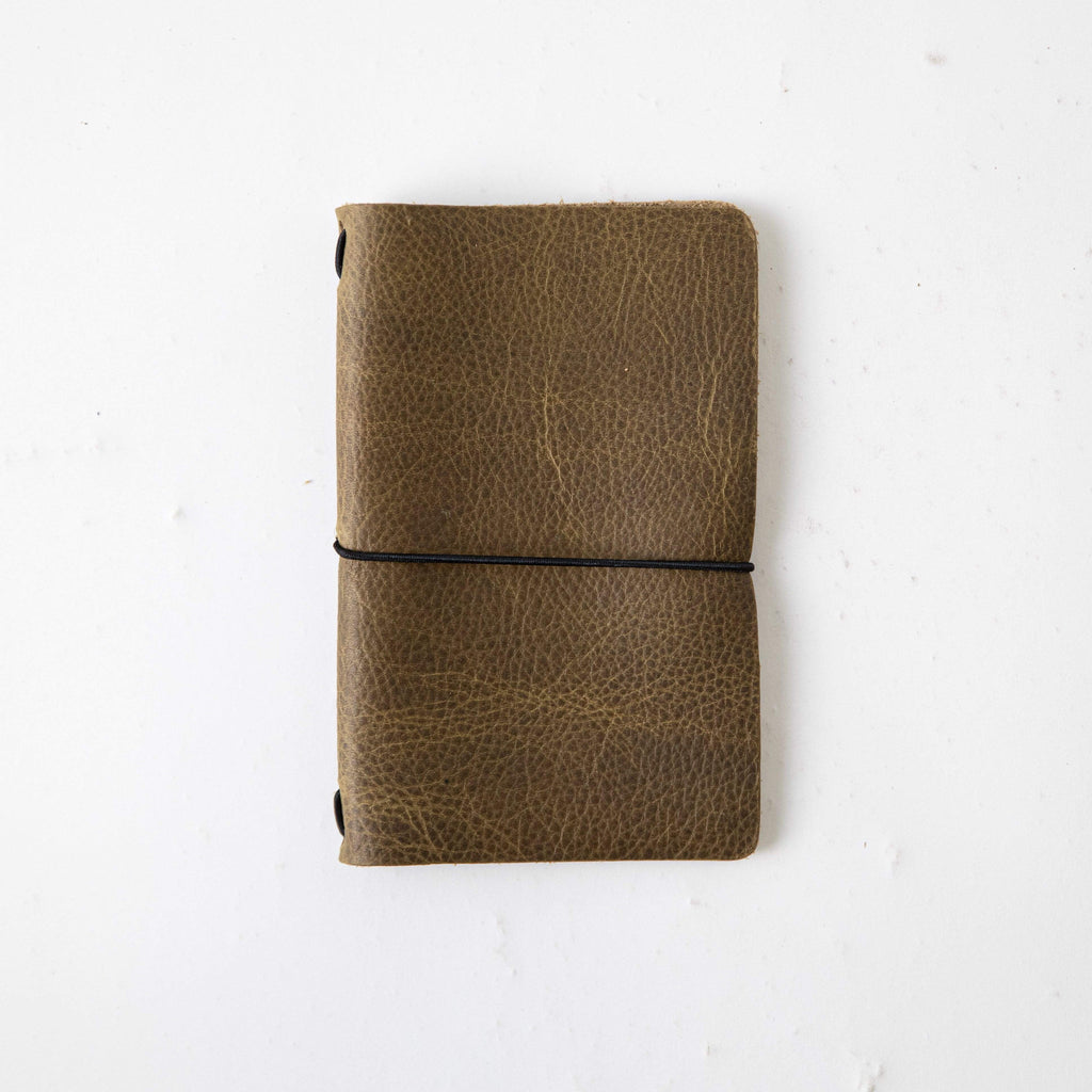 Olive Kodiak Travel Notebook- leather journal - leather notebook - KMM & Co.