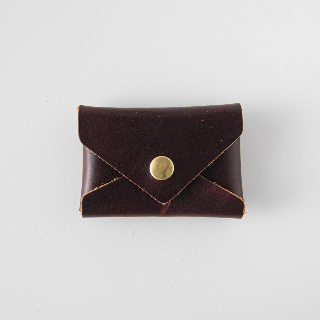 Oxblood Card Envelope- card holder wallet - leather wallet made in America at KMM & Co.