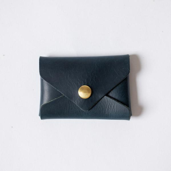 Petrol Blue Card Envelope- card holder wallet - leather wallet made in America at KMM & Co.