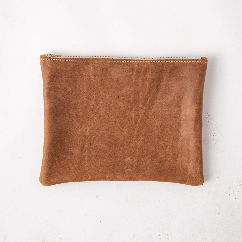 Rye Medium Zip Pouch- leather zipper pouch - KMM & Co.