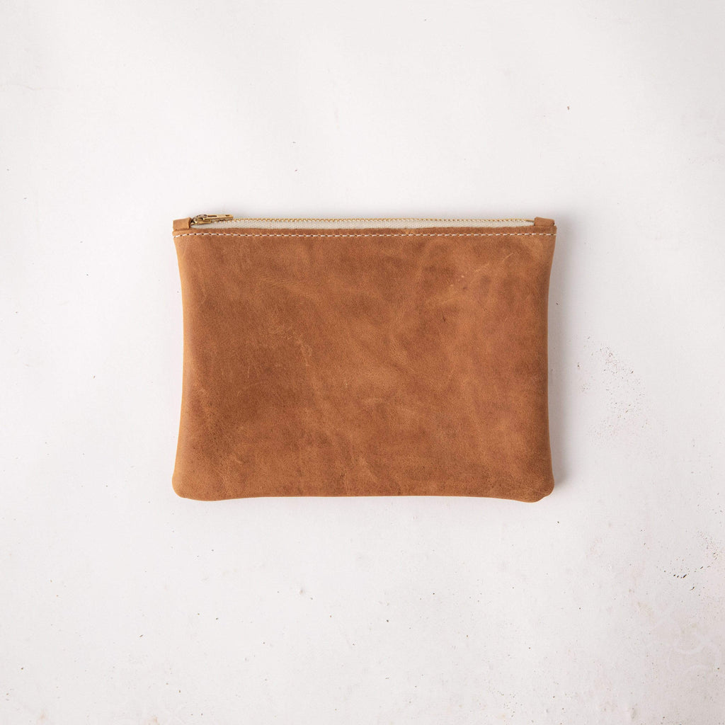 Rye Small Zip Pouch- small zipper pouch - leather zipper pouch - KMM & Co.