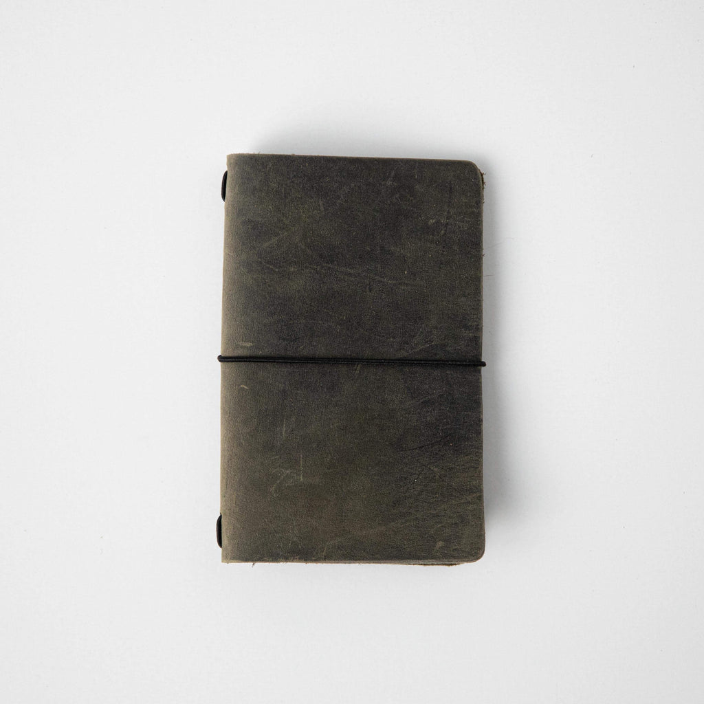 Sage Travel Notebook- leather journal - leather notebook - KMM & Co.