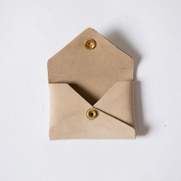 Sand Suede Card Envelope- card holder wallet - leather wallet made in America at KMM & Co.