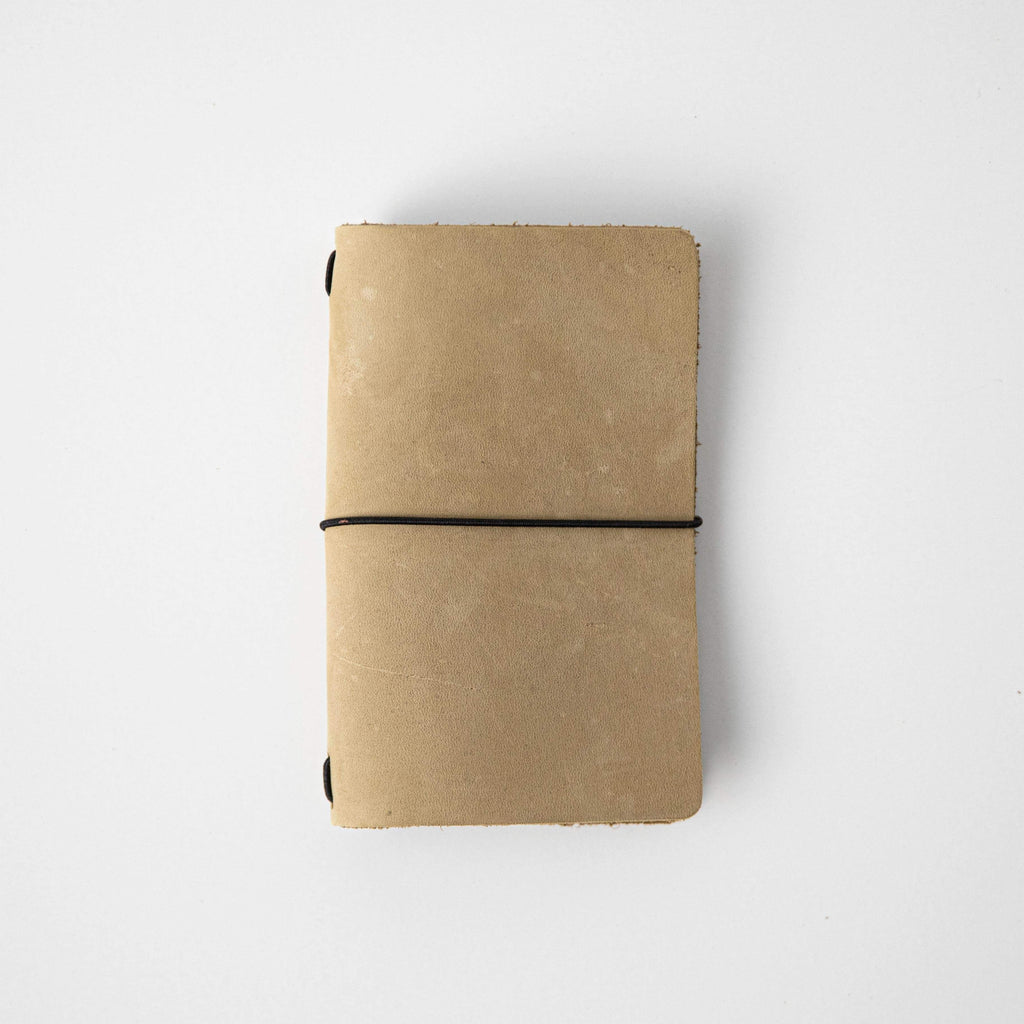 Sand Suede Travel Notebook- leather journal - leather notebook - KMM & Co.