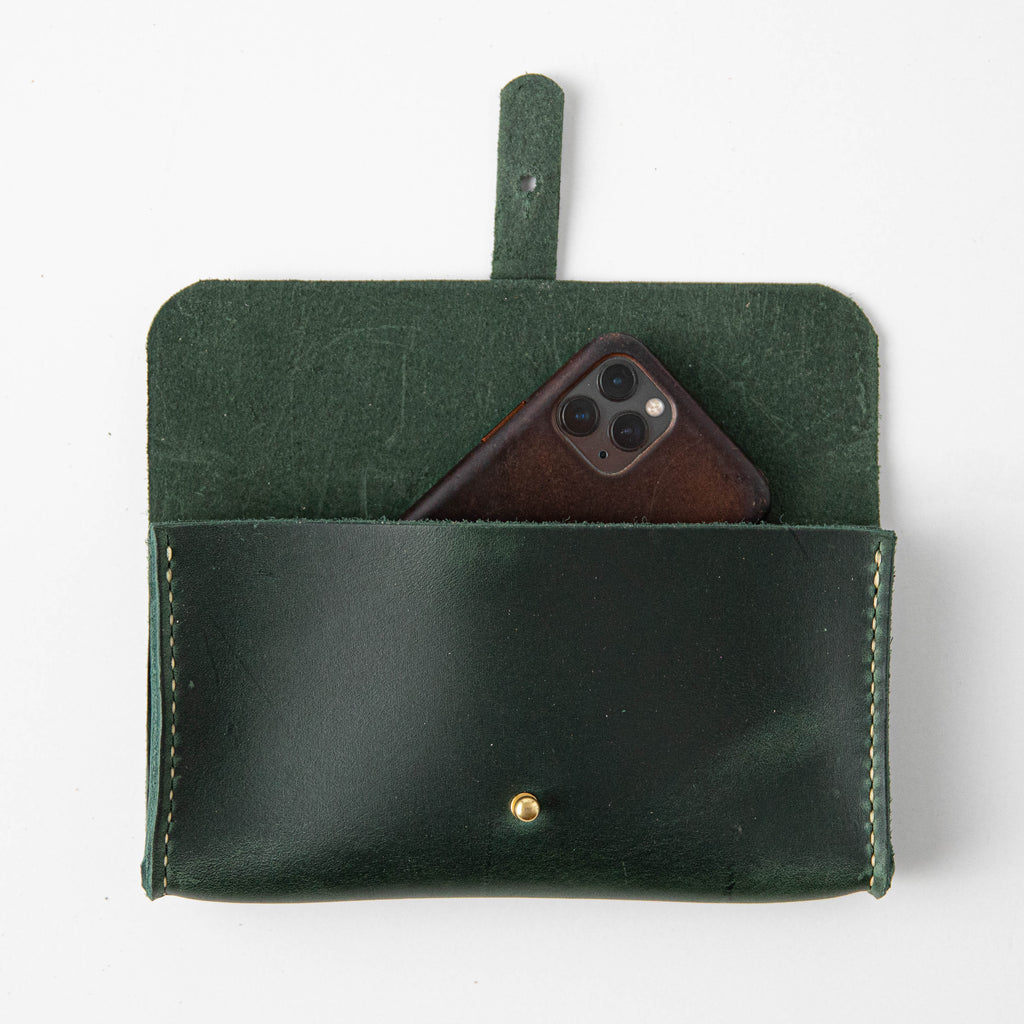 Spruce Green Clutch Wallet- leather clutch bag - leather handmade bags - KMM & Co.