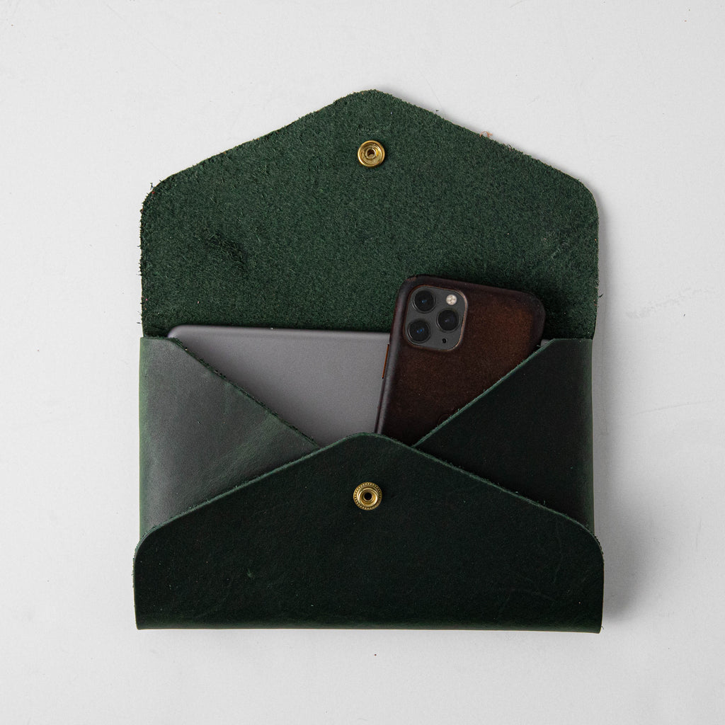 Spruce Green Envelope Clutch- leather clutch bag - handmade leather bags - KMM & Co.