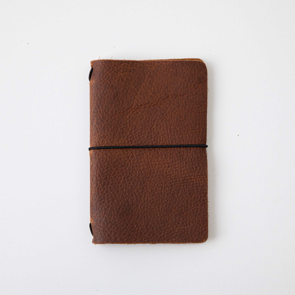 Tan Kodiak Travel Notebook- leather journal - leather notebook - KMM & Co.
