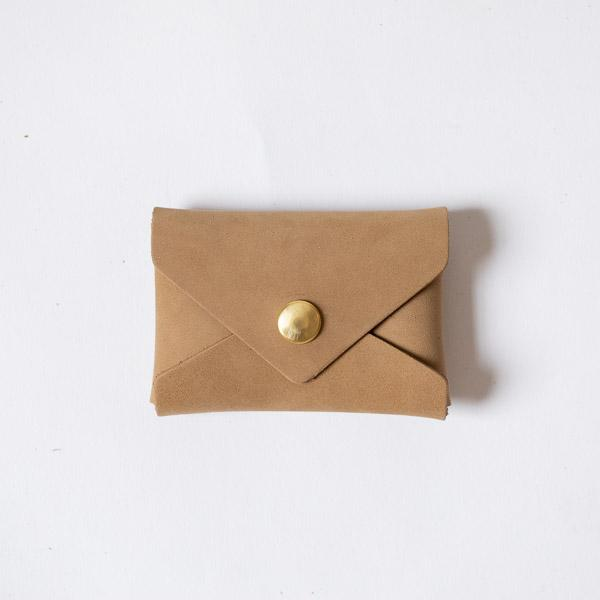 Taupe Suede Card Envelope- card holder wallet - leather wallet made in America at KMM & Co.