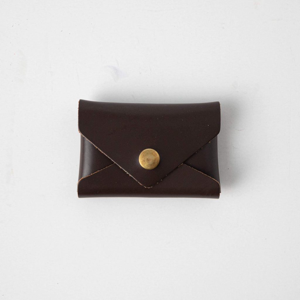 Umber Card Envelope- card holder wallet - leather wallet made in America at KMM & Co.