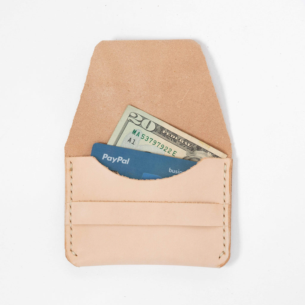 Vegetable Tan Flap Wallet- mens leather wallet - handmade leather wallets at KMM & Co.