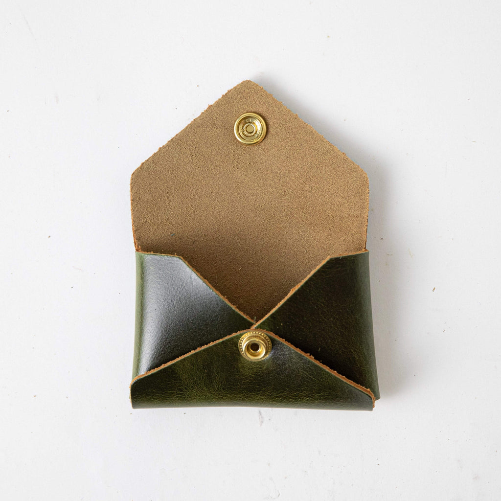 Victorian Green Card Envelope- card holder wallet - leather wallet made in America at KMM & Co.