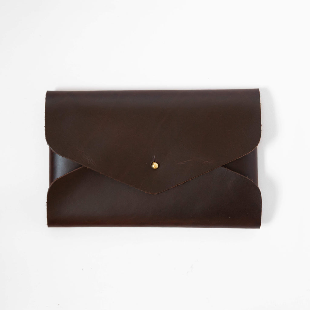Walnut Envelope Clutch- leather clutch bag - handmade leather bags - KMM & Co.