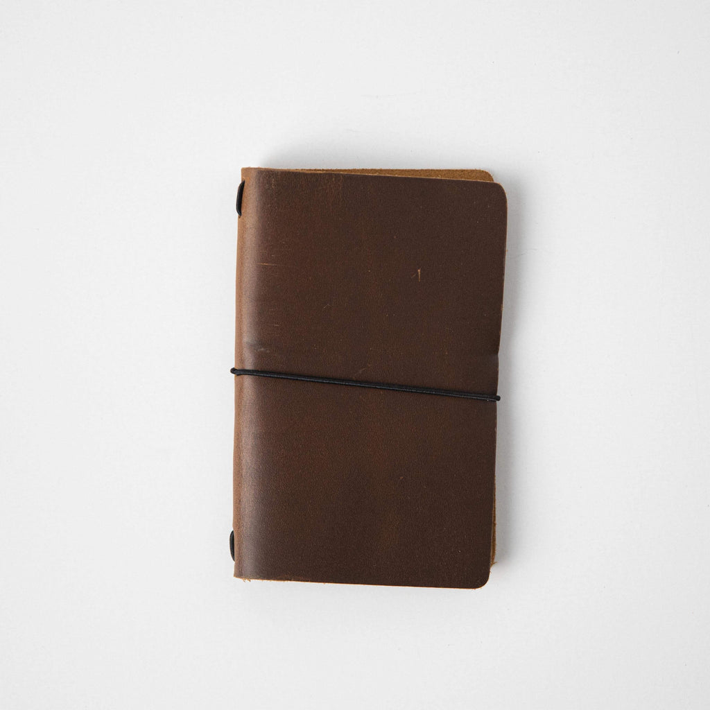 Western Brown Travel Notebook- leather journal - leather notebook - KMM & Co.