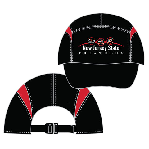 NJ State Tri: 'Event Logo' Tri Tech Cap w/ Gussets - Black / Red - by Boco