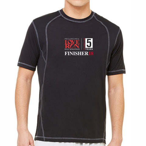 2018 Love Run Philadelphia Half Marathon: 'Finisher' Men's SS Tech Tee - Black/Slate - by All Sport