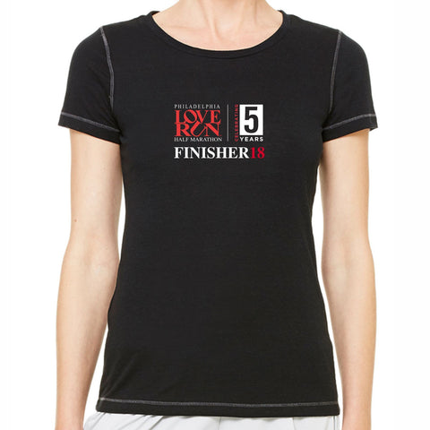 2018 Love Run Philadelphia Half Marathon: 'Finisher' Women's SS Technical Tri-Blend Tee - Solid Black - by All Sport