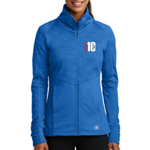 Perfect 10 Miler: 'Left Chest Embroidery' Women's Stretch Full Zip Jacket - Electric Blue - by OGIO
