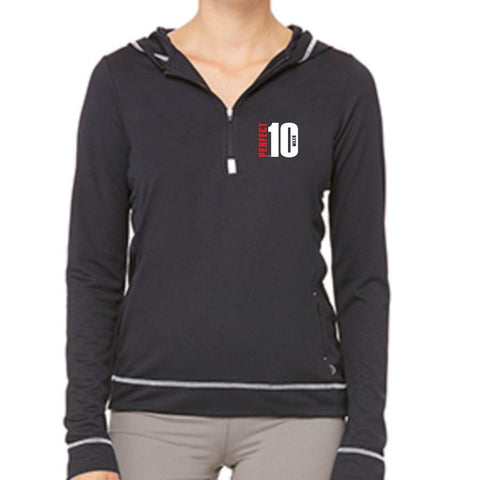 Perfect 10 Miler: 'Left Chest Embroidery' Women's Tech Hooded Pullover 1/2 Zip - Black - by ALL SPORT