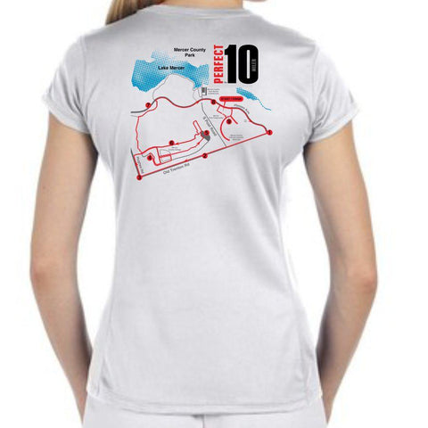 Perfect 10 Miler: 'Map' Women's SS Tech Tee - White - by New Balance