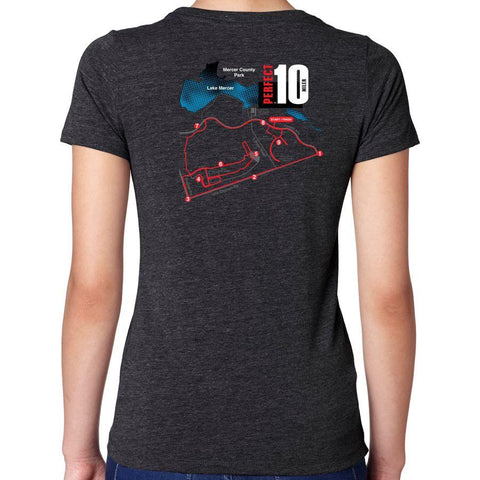 Perfect 10 Miler: 'Map' Women's SS Tri-Blend Tee - Vintage Black - by Next Level