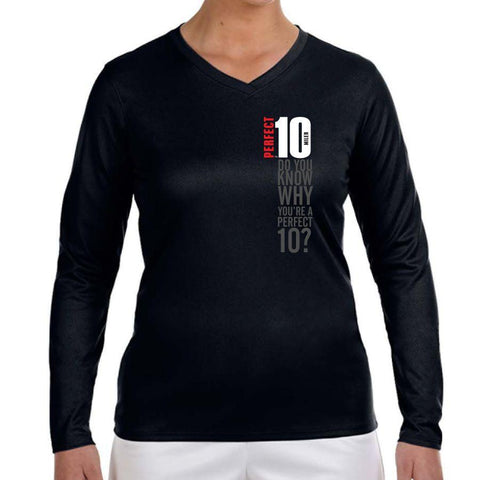 Perfect 10 Miler: '2017 Map' Women's LS Tech V-Neck Tee - Black - by New Balance