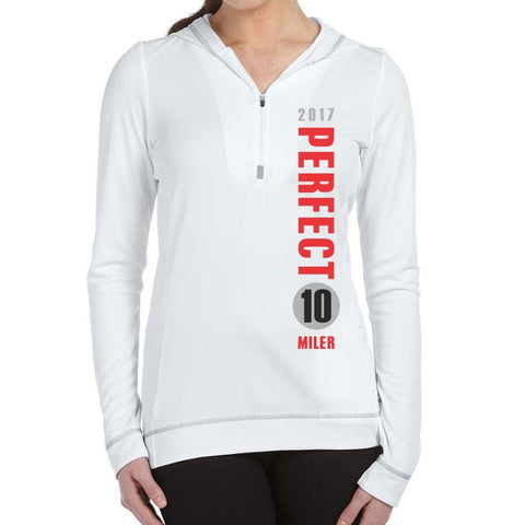 Perfect 10 Miler: 'Left Chest Print - Vertical' Women's Tech Hooded Pullover 1/2 Zip - White - by ALL SPORT