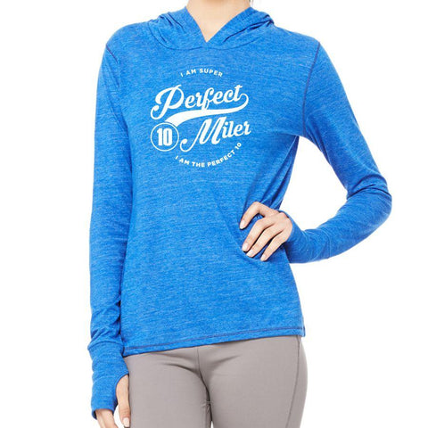 Perfect 10 Miler: 'Super' Women's Thumbhole Tri-Blend Lightweight Hoody - Royal Heather - by ALL SPORT