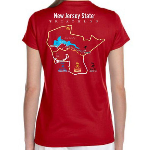 NJ Triathlon: '2016 Course Map' Women's SS Tech V-Neck Tee - Cherry Red - by New BalanceŒ¬ - SKU msjtfm127210w