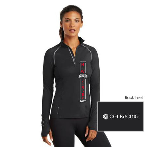 NJ Triathlon: 'Vertical In Training' Women's Tech 1/4 Zip Pullover - Black - by OGIO