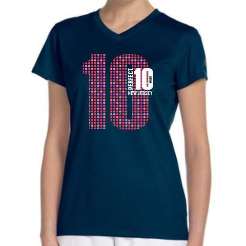 Perfect 10 Miler: 'Big 10' Women's SS Tech V-Neck Tee - Navy - by New Balance