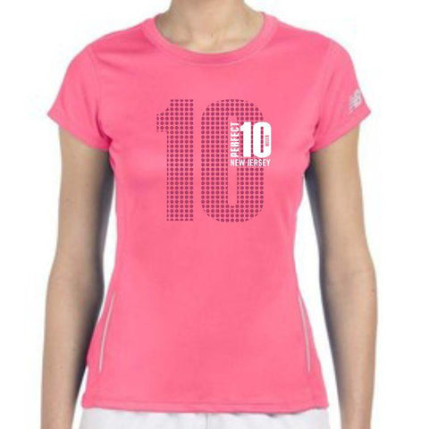 Perfect 10 Miler: 'Big 10' Women's SS Tech Tee - Safety Pink - by New Balance