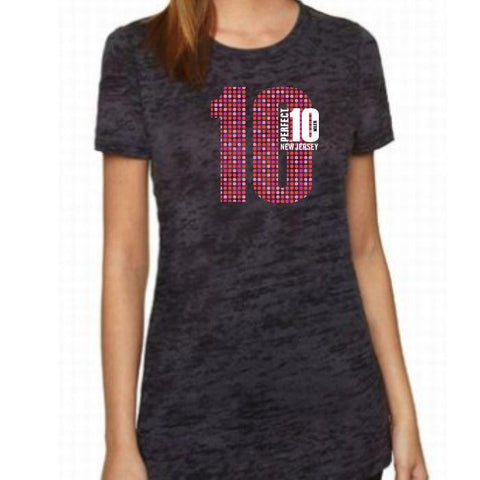 Perfect 10 Miler: 'Big 10' Women's SS Burnout Tee - Black - by Next Level