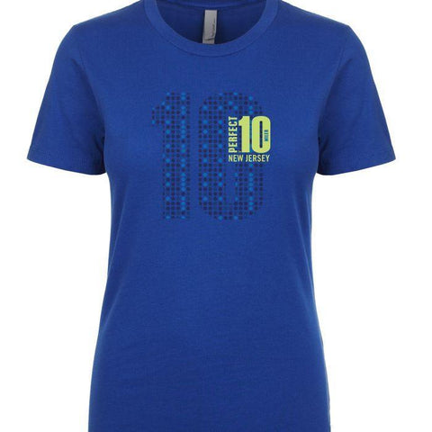 Perfect 10 Miler: 'Big 10' Women's SS Fashion Tee - Royal - by Next Level