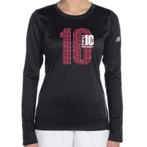 Perfect 10 Miler: 'Big 10' Women's LS Tech Tee - Black - by New Balance