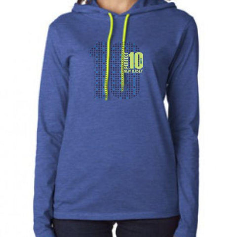Perfect 10 Miler: 'Big 10' Women's LS Lightweight Hoody Tee - Heather Blue - by Anvil