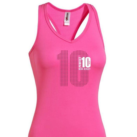 Perfect 10 Miler: 'Big 10' Women's Racerback Tech Singlet - Hot Pink