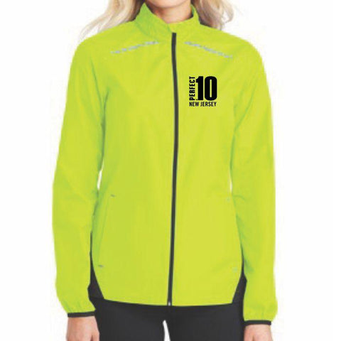 Perfect 10 Miler: 'Left Chest Embroidery' Women's Lightweight Reflective Full Zip Jacket - Hi Viz - by Port Authority