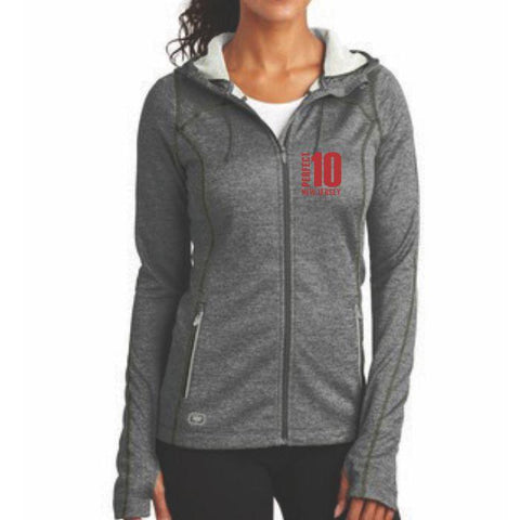 Perfect 10 Miler: 'Left Chest Embroidery' Women's Polyester Full Zip Jacket - Diesel Grey - by OGIO