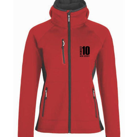 Perfect 10 Miler: 'Left Chest Embroidery' Women's Soft-Shell Hooded Full Zip Jacket - Red - by Phantom