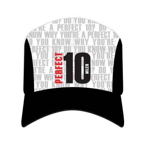 Perfect 10 Miler: 'Event Logo' Technical Cap - Black / White - by Headsweats
