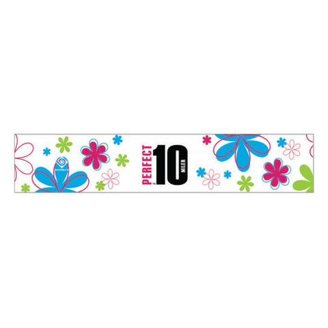 Perfect 10 Miler: 'Event Logo' Technical Headband - White-Floral - by Bondiband
