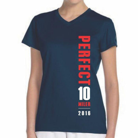 Perfect 10 Miler: 'Map' Women's SS Tech V-Neck Tee - Navy - by New Balance