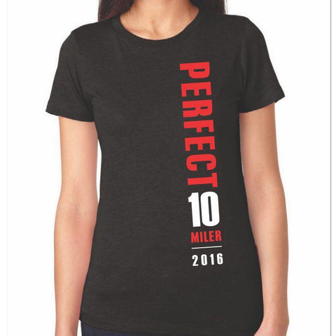 Perfect 10 Miler: 'Map' Women's SS Tri-Blend Tee - Black - by Next Level